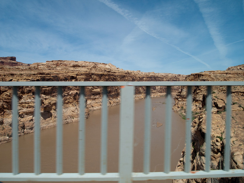 Over the bridge we go... with the muddy Colorado down below.