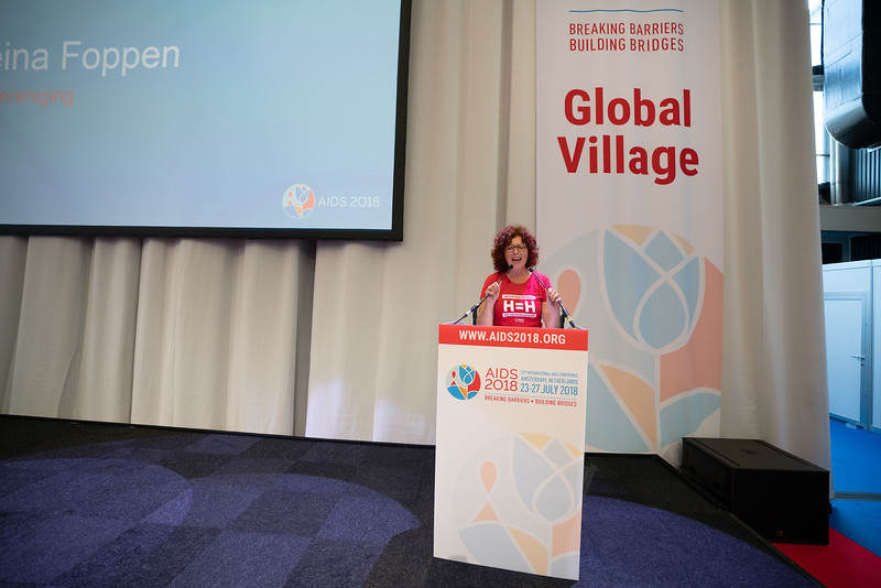 22nd International AIDS Conference (AIDS 2018) Amsterdam, Netherlands.   Copyright: Matthijs Immink/IAS  Global Village Opening  Photo shows: Reina Foppen