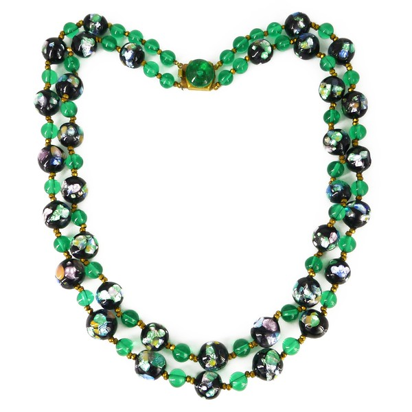 Vintage Mid Century French Pastel Foil Black & Green Glass Bead Double Row Necklace