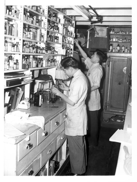 """""""John Toshiguki, proprietor (foreground), and Fred Koyama, pharmacist, both Nisei, shown in the prescription department of the drug store (Los Angeles)""""--caption on photograph"""
