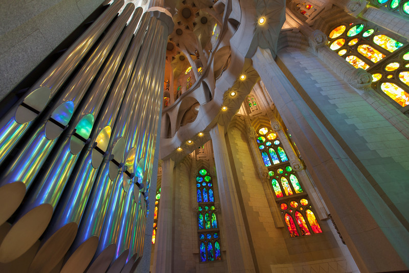 Organ pipes inside the Sagrada Família.