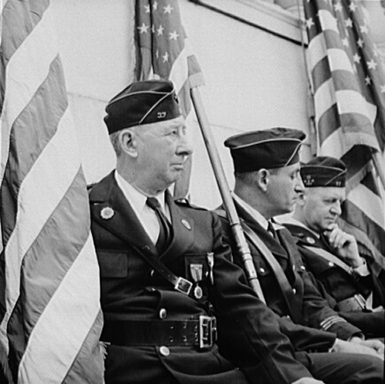 . Arlington Cemetery, Arlington, Virginia. American legion color bearer at the Memorial Day services in the amphitheater. Esther Bubley, Photographer.  Courtesy the Library of Congress