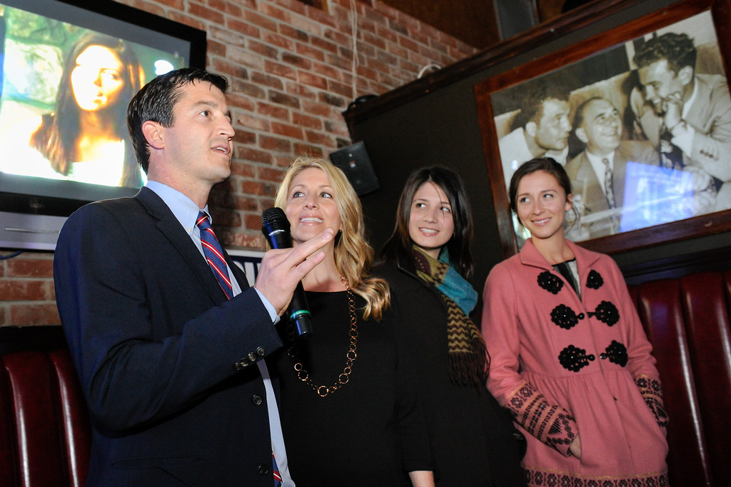 . The children of Carmen Trutanich at the campaign party at Rocco\'s Tavern in Studio City, Tuesday, March 5, 2013. They are from left, Nick Trutanich, Kim Klimas, Kristin Shear and Caitlin Trutanich. (Michael Owen Baker/Staff Photographer)