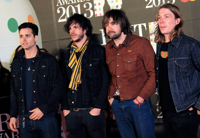 . From left, Pete Robertson, Justin Young, Freddie Cowan and Arni Hjorvar of British band The Vaccines seen arriving at the BRIT Awards 2013 at the o2 Arena in London on Wednesday, Feb. 20, 2013. (Photo by Joel Ryan/Invision/AP)