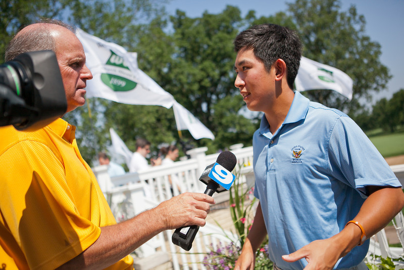 Amateur golfer David Chung fields questions from WGN sports reporter Dan Roan after the press conference.
