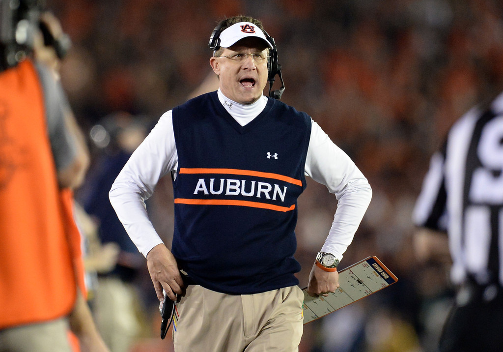 . Auburn head coach Gus Malzahn in the first half of the BCS National Championship game against Florida State at the Rose Bowl in Pasadena, Calif., on Monday, Jan. 6, 2014. 