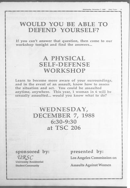 Daily Trojan, Vol. 107, No. 62, December 07, 1988
