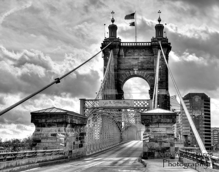 Roebling Suspension Bridge - dramatic sky in black & white