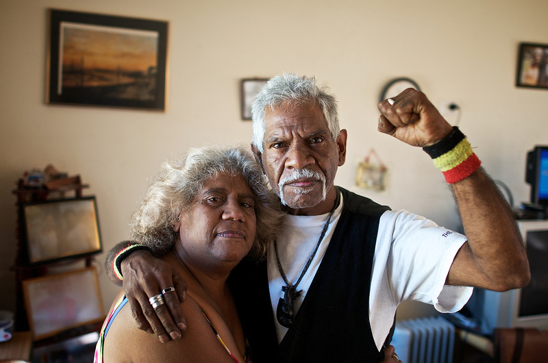 Standing Mid-Adult Aboriginal Man and Woman