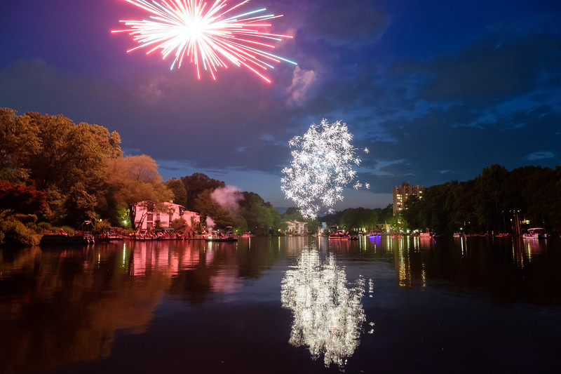 Double fireworks at Lake Anne