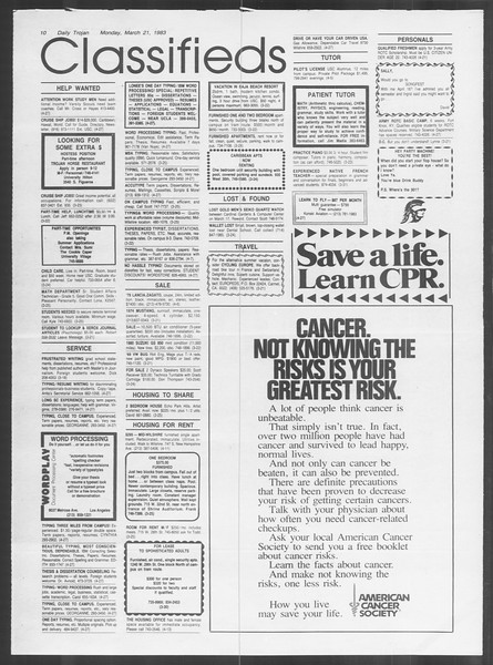 Daily Trojan, Vol. 93, No. 47, March 21, 1983