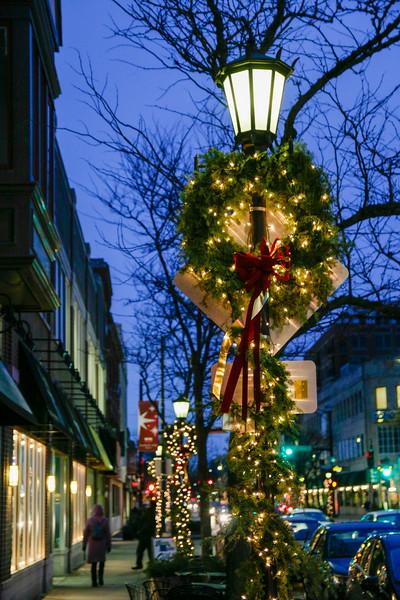 Christmas decorations on Lake Street. Oak Park, Illinois