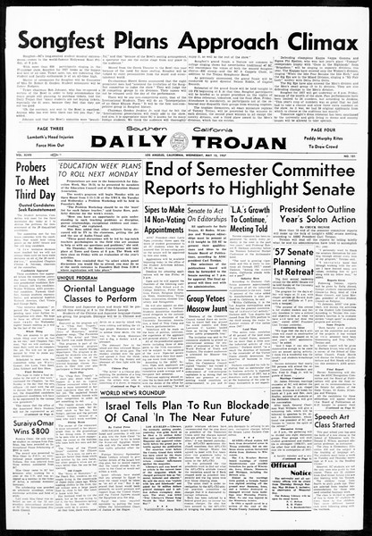 Daily Trojan, Vol. 48, No. 131, May 15, 1957