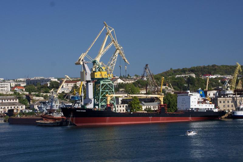 Large ship and cranes in Sevastopol harbor, Ukraine. _DSC4406