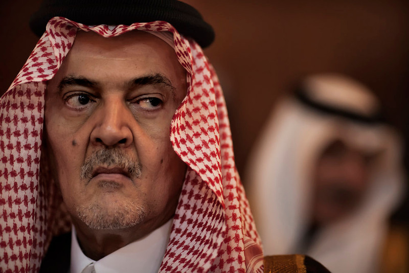 . Saudi Arabia Foreign Minister Prince Saud al-Faisal looks on during the Foreign Affairs Ministers meeting on Syria in Cairo February 12, 2012 where the ministers mull their next move on Syria that a bloody 11-month crackdown has left thousands dead. MARCO LONGARI/AFP/Getty Images