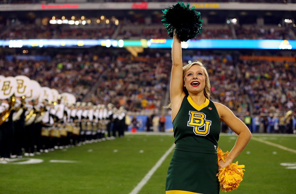 . GLENDALE, AZ - JANUARY 01: A Baylor Bears cheerleader performs prior to the Tostitos Fiesta Bowl against the UCF Knights at University of Phoenix Stadium on January 1, 2014 in Glendale, Arizona.  (Photo by Ronald Martinez/Getty Images)