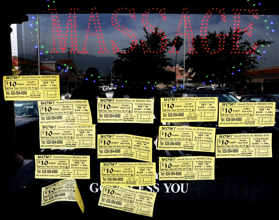 . Massage School of Pasadena located at 350 South Lake Avenue in Pasadena Thursday, April 17, 2014.In the last 10 years, the number of massage businesses has increased dramatically in the San Gabriel Valley, causing many cities to grapple with ways to monitor and regulate them. The California Massage Therapy Law, passed in 2009, regulates massage therapists and protects them from restrictive ordinances from cities. However, the law is set to sunset in 2015, and lawmakers, massage advocates and local cities have proposed a new law improves regulation and gives cities more control(Photo by Walt Mancini/Pasadena Star-News)