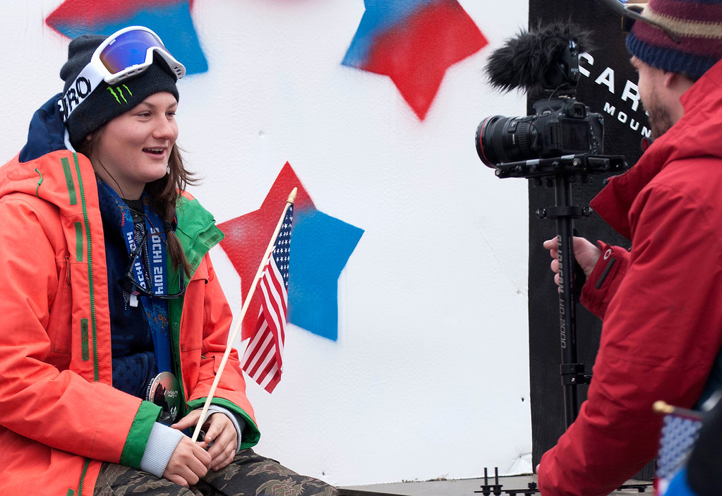 """. Kayla Rice/Reformer                                 Mount Snow athlete and Olympic silver medalist Devin Logan is interviewed during the \""""Devin Day\"""" celebration and parade in Dover on Saturday."""
