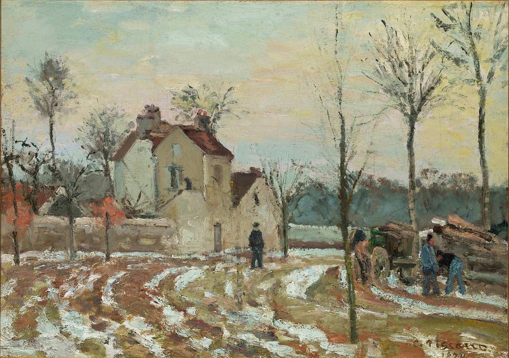 ". Camille Pissarro, \""Le Degel, Maison de M. Musy,\"" 1872, oil on canvas, 12.5x18\""  (Image provided by the Denver Art Museum)"