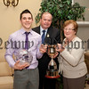Silverbridge Harps GAC annual presentation evening in the Carrickdale Hotel.Senior Player of the year Cathal Lambe pictured with Liam O' Neill President GAA and Bridgie Reel who presented the Peter Reel cup.RS1406706