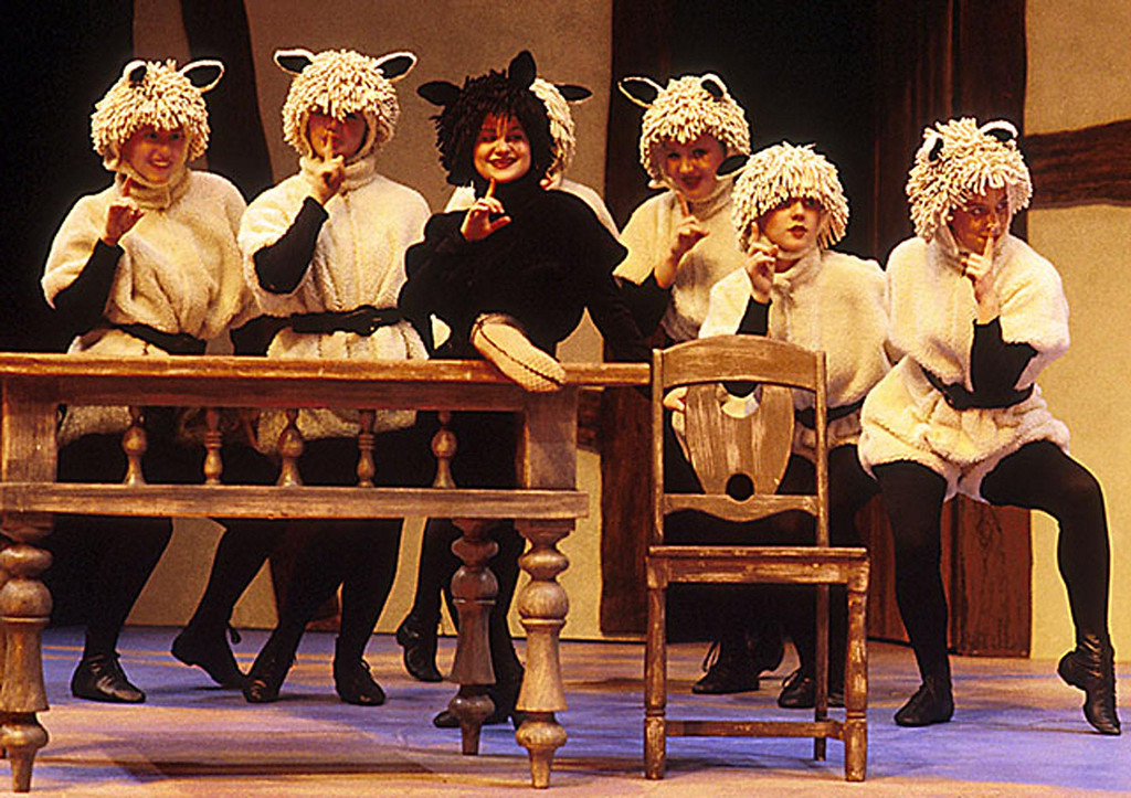 ". The sheep in Shakespeare Santa Cruz\'s production of ""Cinderella\"" in 2000, in costumes by B. Modern. (Photo courtesy of SSC)"