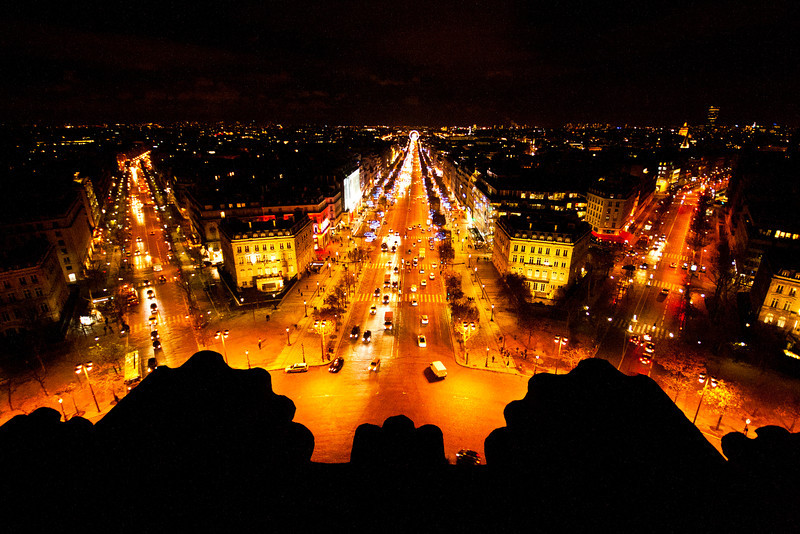 The Champs-Elysees from the Arc de Triomphe, Paris