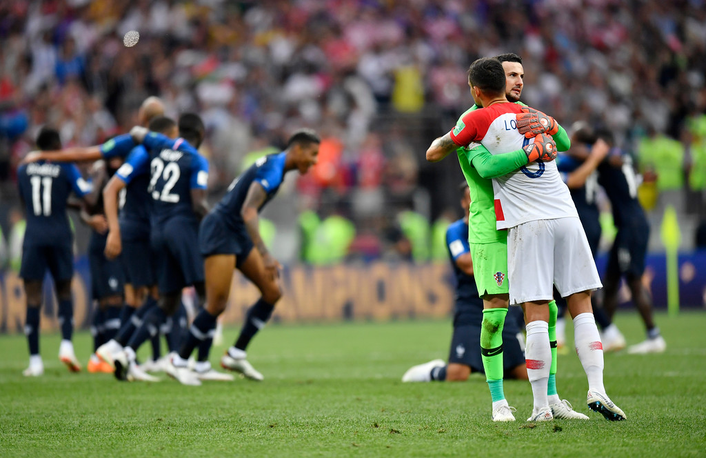 . Croatia goalkeeper Danijel Subasic hugs Croatia\'s Dejan Lovren after losing the final match between France and Croatia at the 2018 soccer World Cup in the Luzhniki Stadium in Moscow, Russia, Sunday, July 15, 2018. (AP Photo/Martin Meissner)