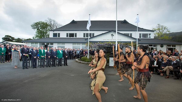Powhiri and Official welcome to players, guests and spectators of the Asia-Pacific Amateur Championship tournament 2017 held at Royal Wellington Golf Club, in Heretaunga, Upper Hutt, New Zealand on 25 October 2017. Copyright John Mathews 2017 www.john.mathews.co.nz