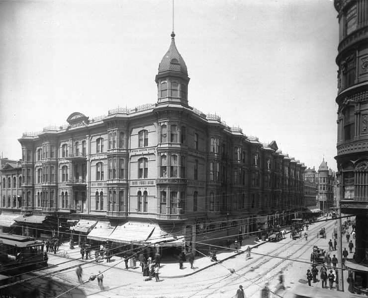 Exterior of the Hollenbeck Hotel on the corner of Spring Street and Second Street, Los Angeles, ca.1900-1905