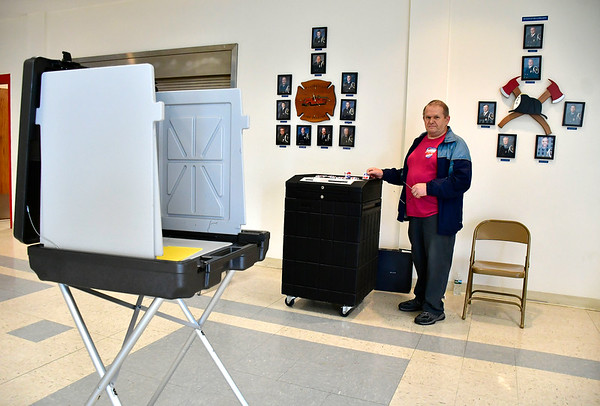 4/30/2019 Mike Orazzi   Staff Joe Szczepanski waits for voters at the Plainville Fire Station during Tuesday's budget vote.