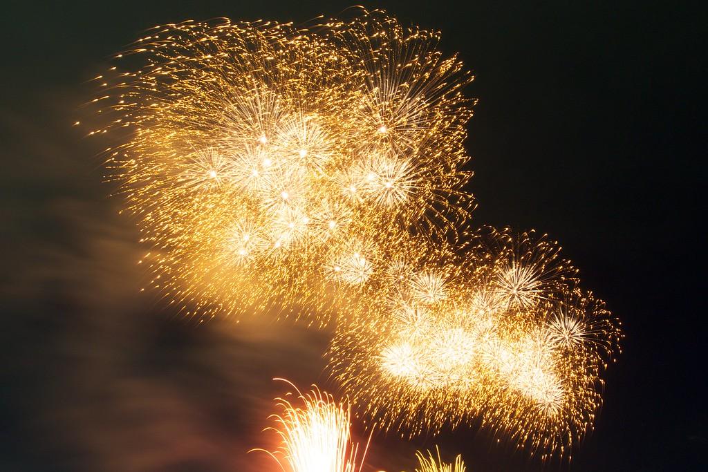Fabulous golden fireworks in summer.