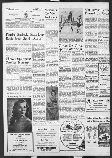 Daily Trojan, Vol. 42, No. 95, March 20, 1951
