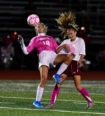 11/5/2019 Mike Orazzi | StaffrBristol Eastern's Victoria Kosciukiewicz (18) and Bristol Central's Rachel Wygant (13) during girls soccer at BC Tuesday night. r