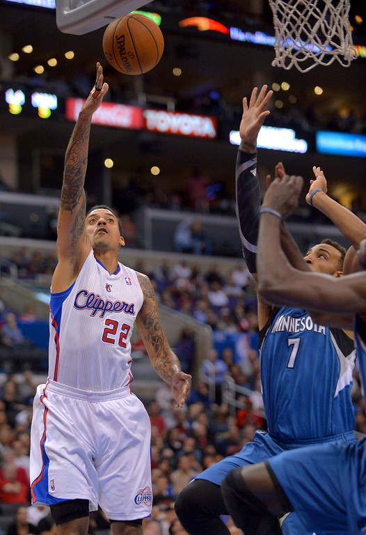 . Los Angeles Clippers\' Matt Barnes puts up a shot against the Minnesota Timberwolves during the first half Monday, Nov. 11, 2013, in Los Angeles.(Andy Holzman/Los Angeles Daily News)