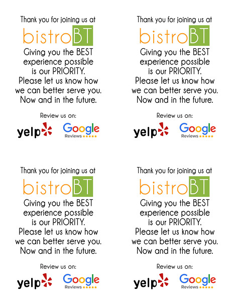 BT YELP REVIEW REQUEST SHEET