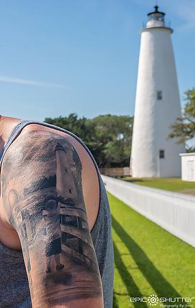Ocracoke Lighthouse Tattoo, McInvale Family, Patrick's Tatoo, Ocracoke Island, 2019, Epic Shutter Photography, Outer Banks Photographers, Ocracoke Strong, Ocracoke Lighthouse, North Carolina,
