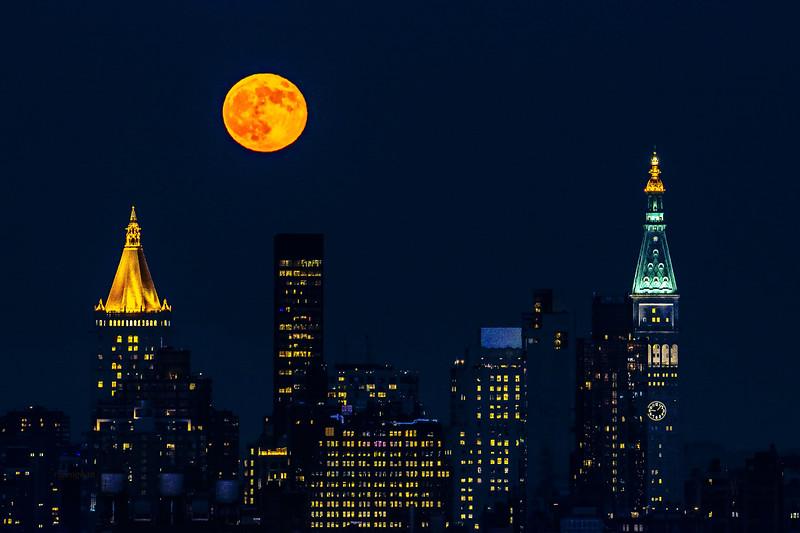 June Strawberry Moon over Manhattan