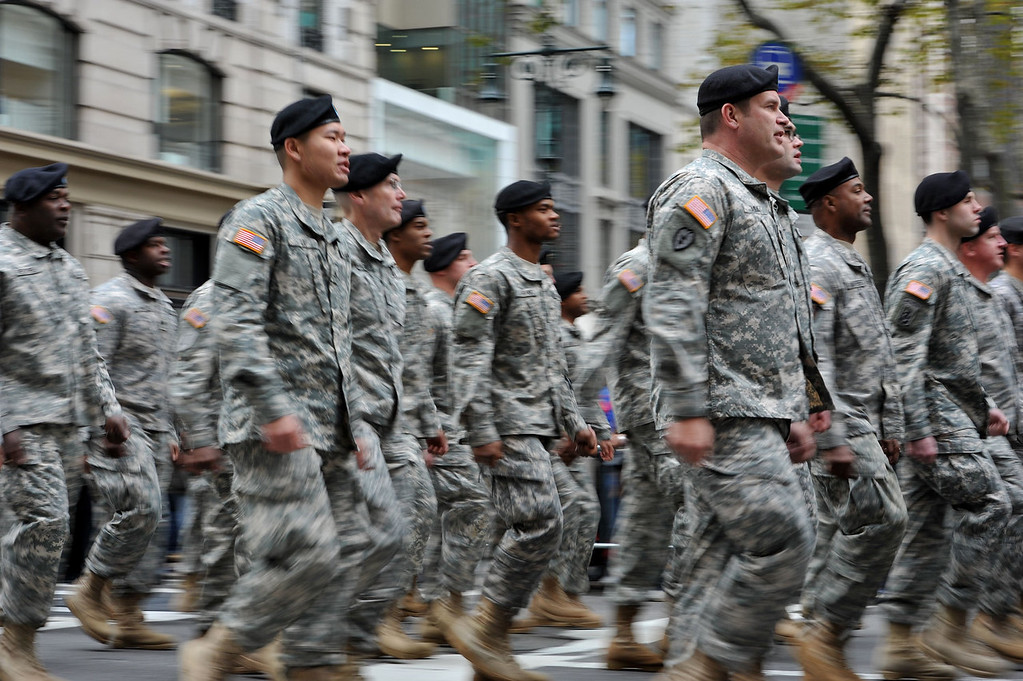. US Army unit marches during the annual Veterans Day Parade Novermber 11, 2013 on Fifth Avenue in New York. STAN HONDA/AFP/Getty Images