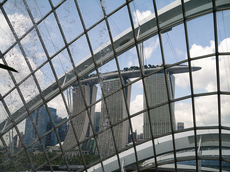Looking out of the dome at the Marina Bay Sands