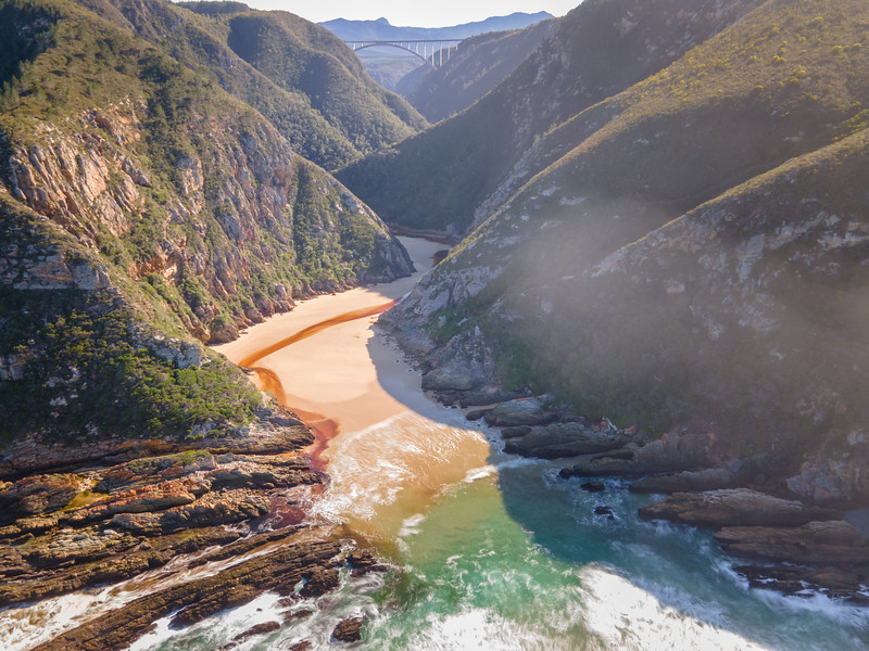 Aerial view of Bloukrans River mouth Otter trail hike Garden Route, South Africa