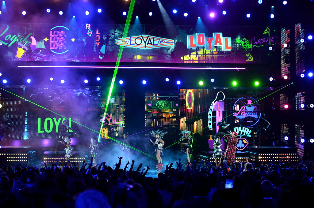 . Singer Chris Brown performs onstage during the BET AWARDS \'14 at Nokia Theatre L.A. LIVE on June 29, 2014 in Los Angeles, California.  (Photo by Kevin Winter/Getty Images for BET)