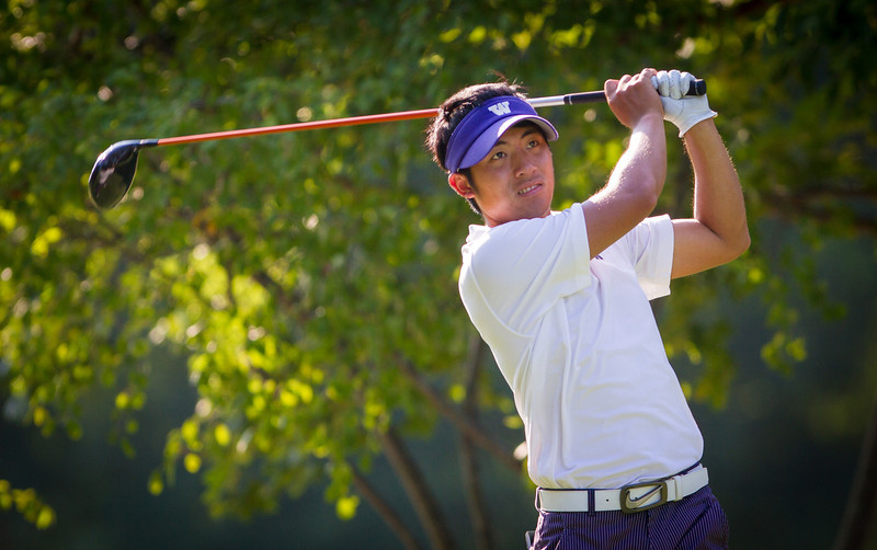 Cheng-Tsung Pan hits his tee shot on 7during second round medal play at the 2012 Western Amateur Championship at Exmoor Country Club in Highland Park IL. on Wednesday, August 1, 2012. (WGA Photo/Charles Cherney)