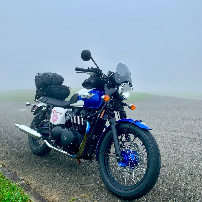 my motorcycles saved my life blog post photo - foggy triumph bonneville on the blue ridge parkway