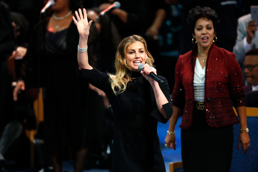 . Faith Hill performs during the funeral service for Aretha Franklin at Greater Grace Temple, Friday, Aug. 31, 2018, in Detroit. Franklin died Aug. 16, 2018 of pancreatic cancer at the age of 76. (AP Photo/Paul Sancya)