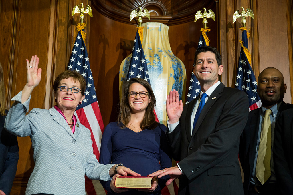 . House Speaker Paul Ryan of Wis. administers the House oath of office to Rep. Rep. Marcy Kaptur, D-Ohio,during a mock swearing in ceremony on Capitol Hill in Washington, Tuesday, Jan. 3, 2017, as the 115th Congress began.(AP Photo/Zach Gibson)