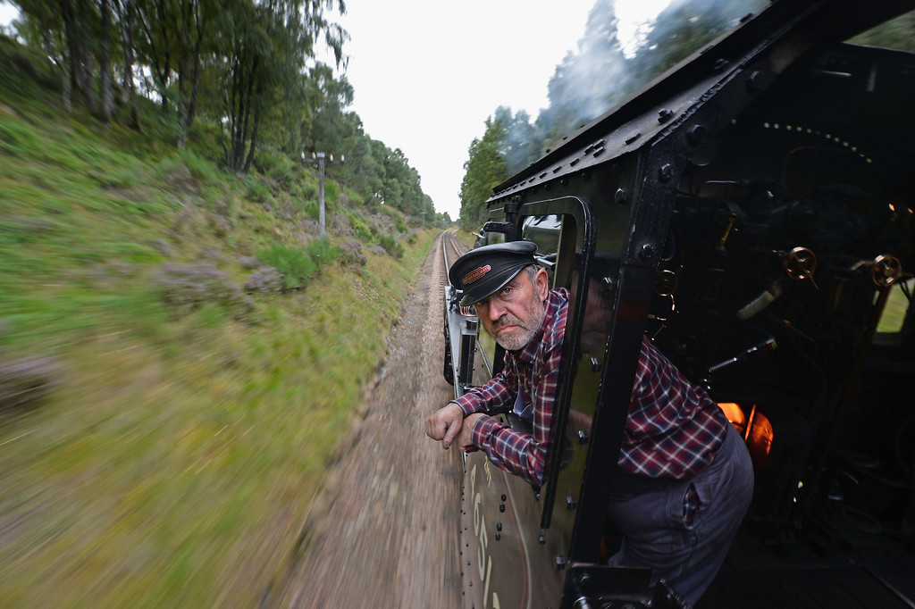 . Henry Leese drives a 1952 British Rail Ivatt number 46512 at Strathspey Steam Railway on August 27, 2013 in Aviemore,Scotland. T  (Photo by Jeff J Mitchell/Getty Images)