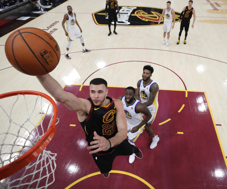 . Cleveland Cavaliers\' Larry Nance Jr. goes up for a shot during the first half of Game 4 of basketball\'s NBA Finals against the Golden State Warriors, Friday, June 8, 2018, in Cleveland. (Kyle Terada/Pool Photo via AP)