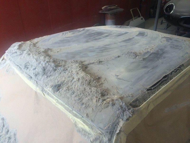 A ridiculous amount of filler found under the paint on this roof!