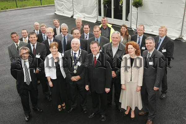 Pictured with Mayor Michael Cole are invited guests at the official opening of the new Water Treatment Works at Crossmaglen. 07W31N9