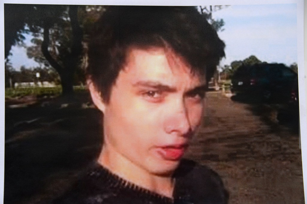 . An undated photo of murder suspect Elliot Rodger is seen at a press conference by the Santa Barbara County Sheriff in Goleta, California May 24, 2014.  Rodger, 22, went on a rampage in Isla Vista near the University of California at Santa Barbara campus, stabbed three people to death at his apartment before shooting to death three more in a terrorizing crime spree through the neighborhood.         (ROBYN BECK/AFP/Getty Images)
